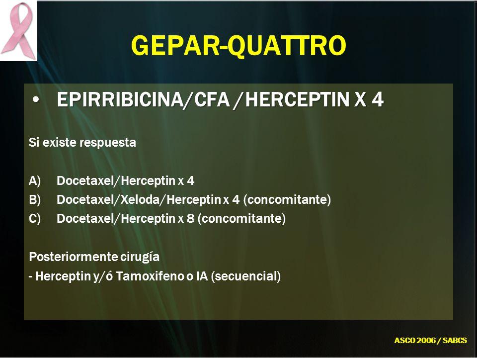 GEPAR-QUATTRO EPIRRIBICINA/CFA /HERCEPTIN X 4 Si existe respuesta