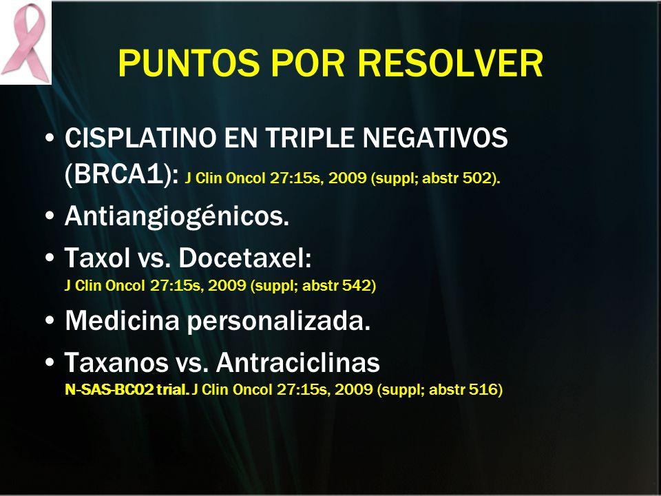 PUNTOS POR RESOLVER CISPLATINO EN TRIPLE NEGATIVOS (BRCA1): J Clin Oncol 27:15s, 2009 (suppl; abstr 502).