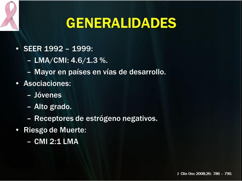 GENERALIDADES SEER 1992 – 1999: LMA/CMI: 4.6/1.3 %.