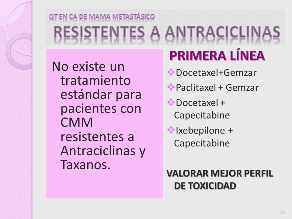 QT EN CA DE MAMA METASTÁSICO RESISTENTES A ANTRACICLINAS