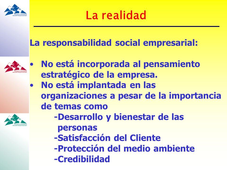 La realidad La responsabilidad social empresarial: