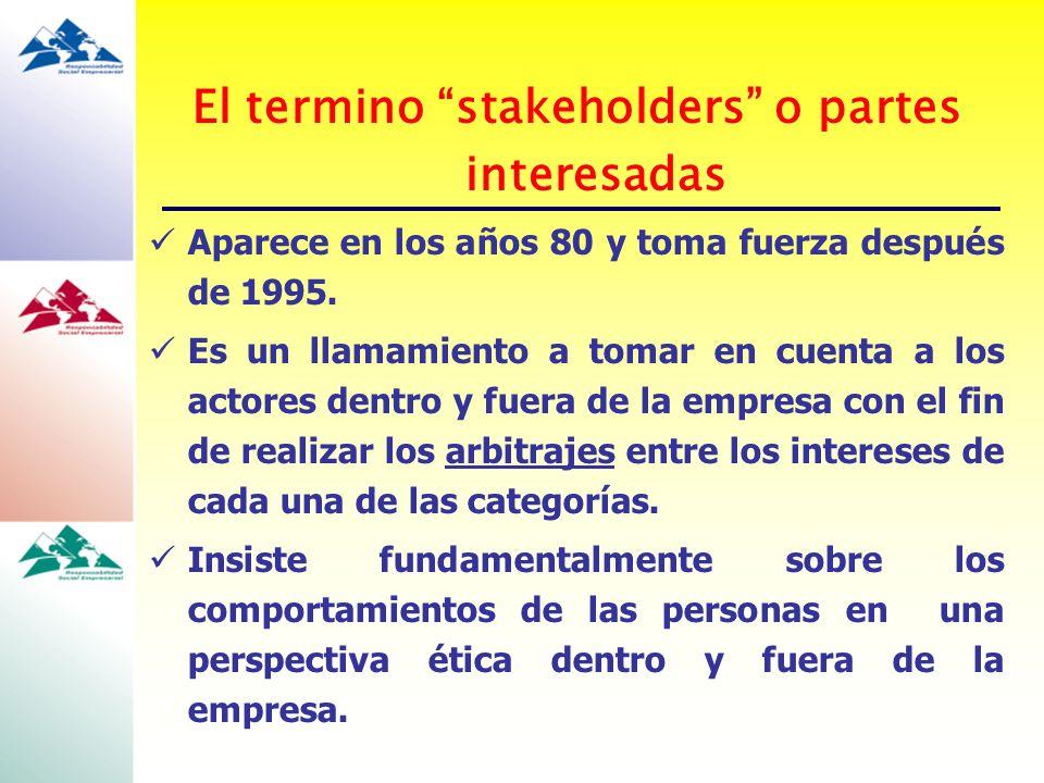 El termino stakeholders o partes interesadas