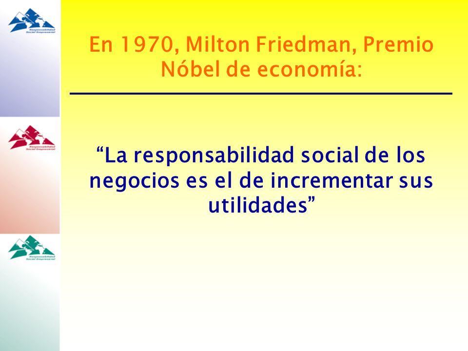 En 1970, Milton Friedman, Premio Nóbel de economía:
