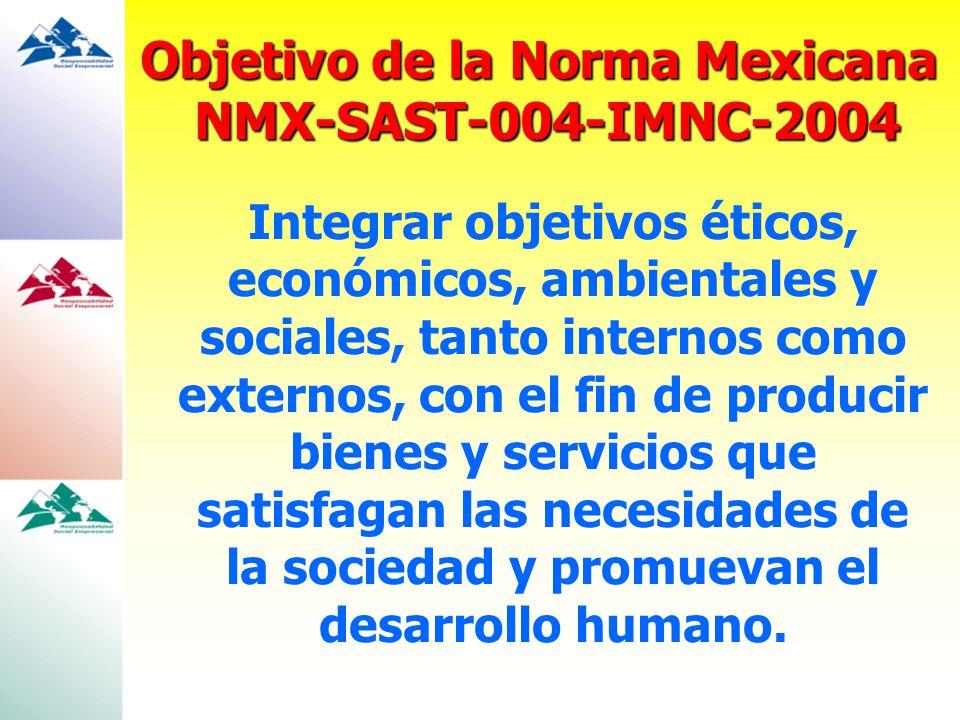 Objetivo de la Norma Mexicana NMX-SAST-004-IMNC-2004