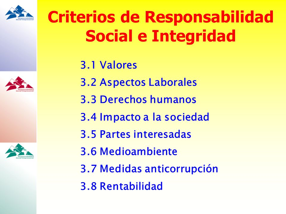 Criterios de Responsabilidad Social e Integridad