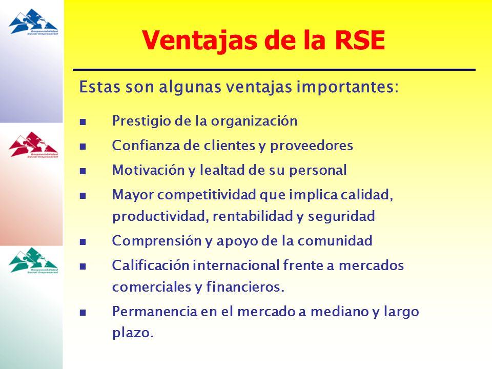 Ventajas de la RSE Estas son algunas ventajas importantes: