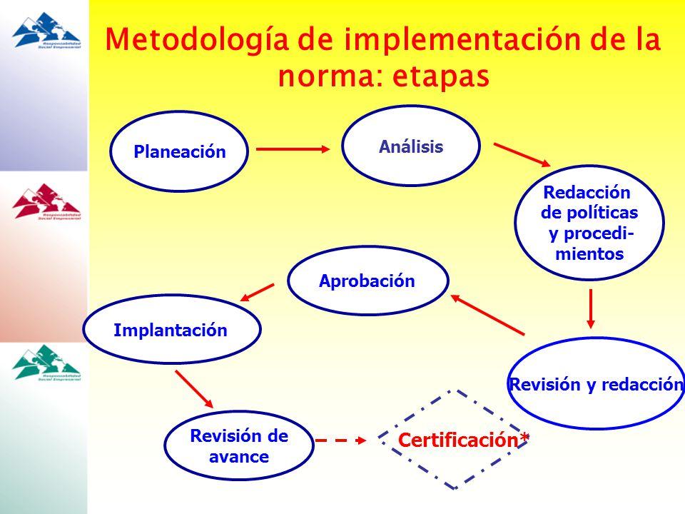 Metodología de implementación de la norma: etapas