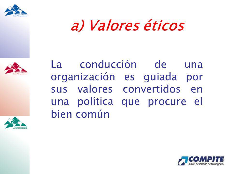 a) Valores éticos La conducción de una organización es guiada por sus valores convertidos en una política que procure el bien común.