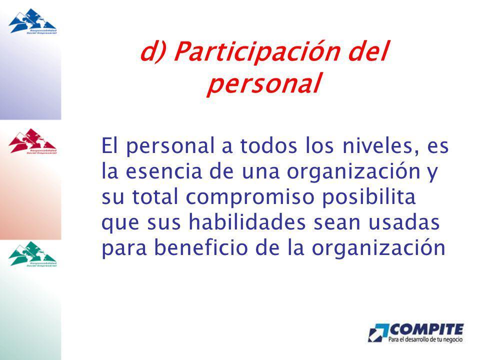 d) Participación del personal