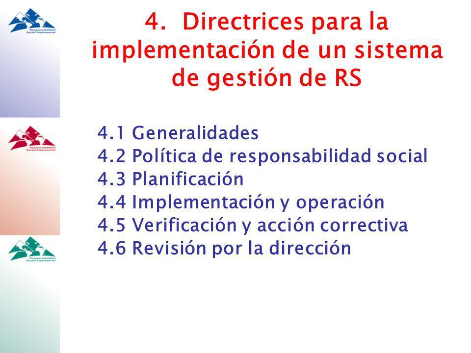 4. Directrices para la implementación de un sistema de gestión de RS