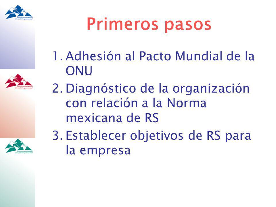 Primeros pasos Adhesión al Pacto Mundial de la ONU