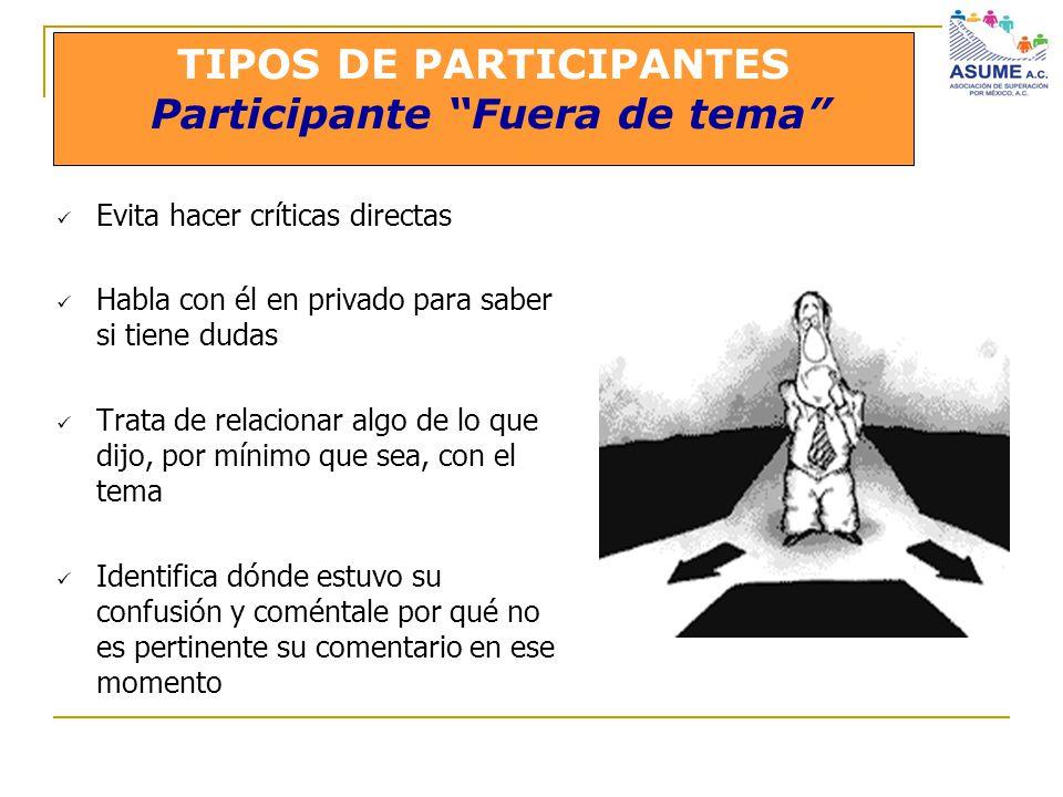 TIPOS DE PARTICIPANTES Participante Fuera de tema