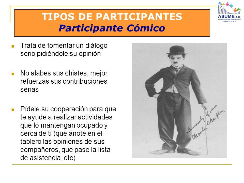 TIPOS DE PARTICIPANTES Participante Cómico