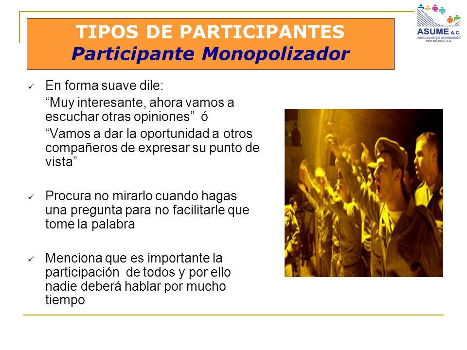 TIPOS DE PARTICIPANTES Participante Monopolizador