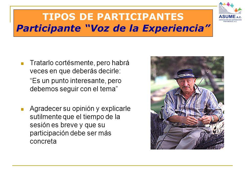 TIPOS DE PARTICIPANTES Participante Voz de la Experiencia