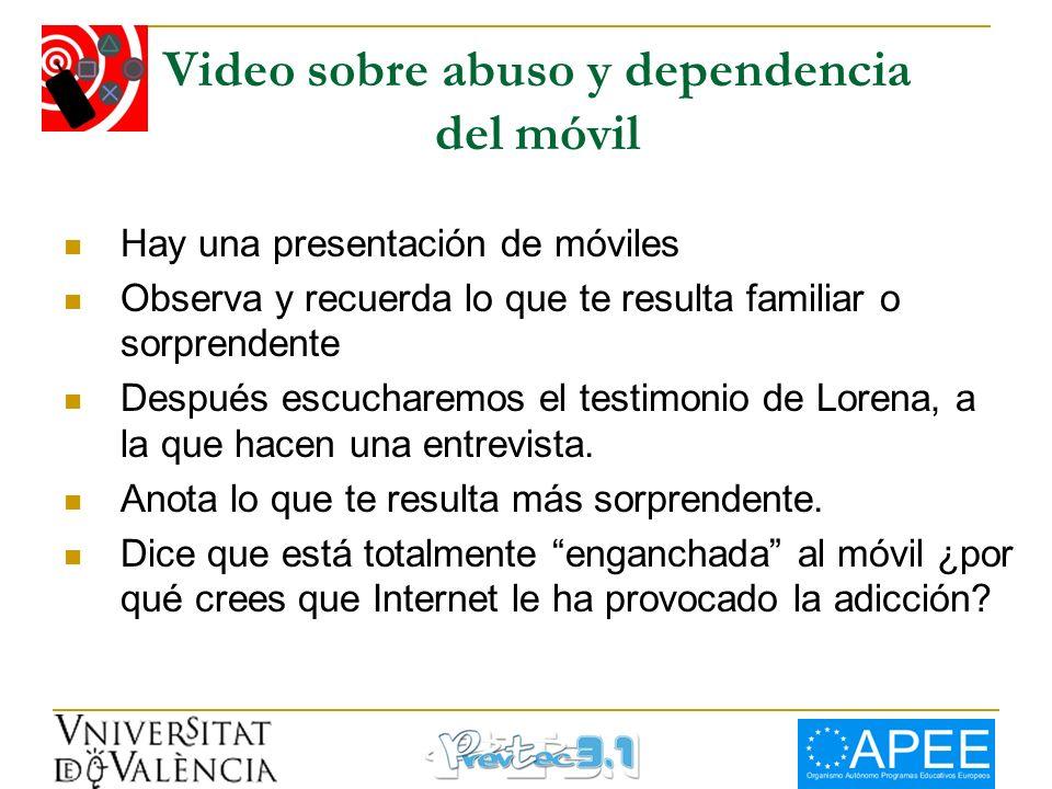 Video sobre abuso y dependencia del móvil