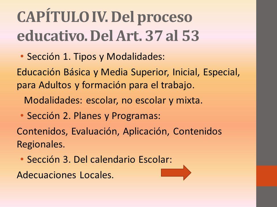 CAPÍTULO IV. Del proceso educativo. Del Art. 37 al 53