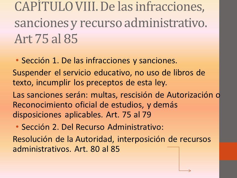 CAPÍTULO VIII. De las infracciones, sanciones y recurso administrativo
