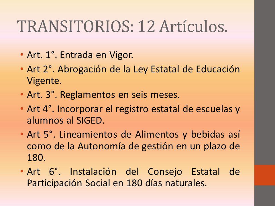 TRANSITORIOS: 12 Artículos.