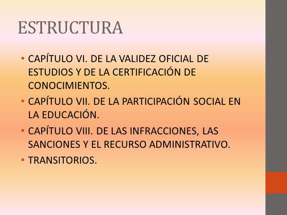 ESTRUCTURA CAPÍTULO VI. DE LA VALIDEZ OFICIAL DE ESTUDIOS Y DE LA CERTIFICACIÓN DE CONOCIMIENTOS.