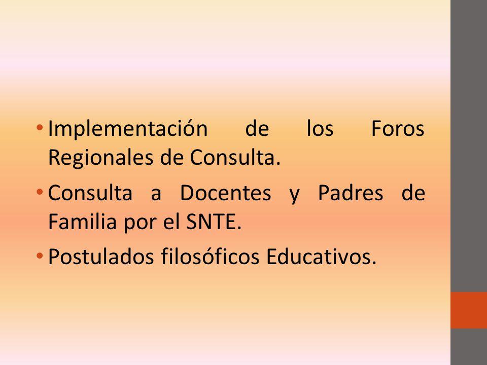 Implementación de los Foros Regionales de Consulta.