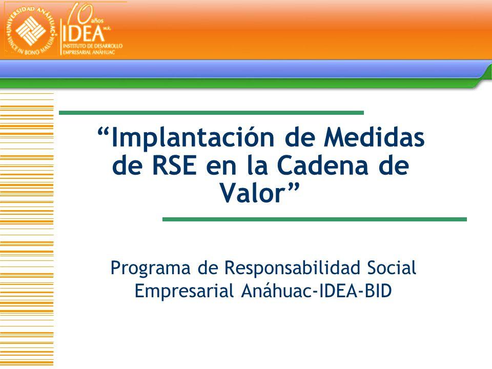 Implantación de Medidas de RSE en la Cadena de Valor