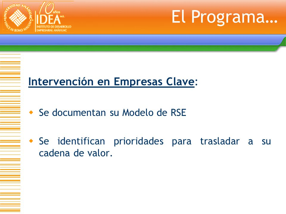 El Programa… Intervención en Empresas Clave: