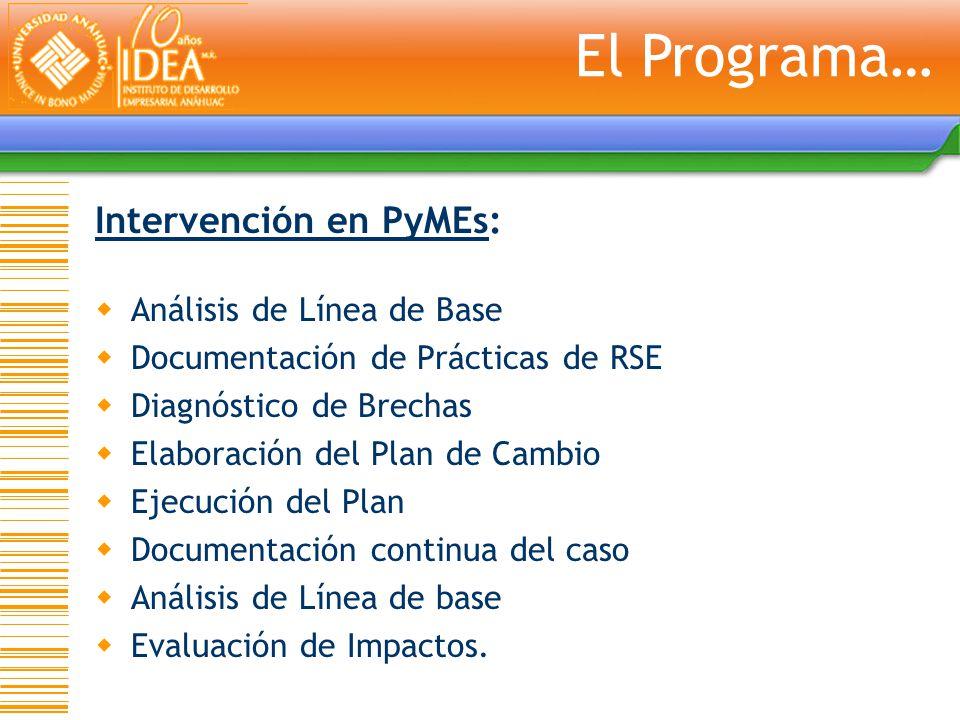 El Programa… Intervención en PyMEs: Análisis de Línea de Base