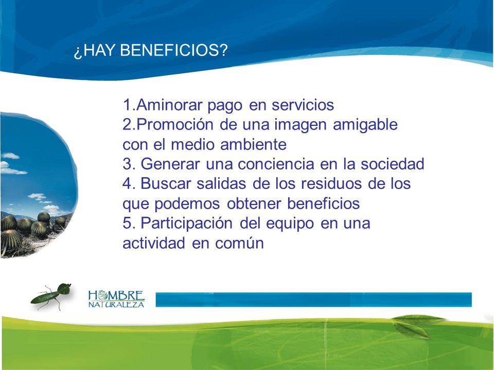 ¿HAY BENEFICIOS 1.Aminorar pago en servicios. 2.Promoción de una imagen amigable con el medio ambiente.