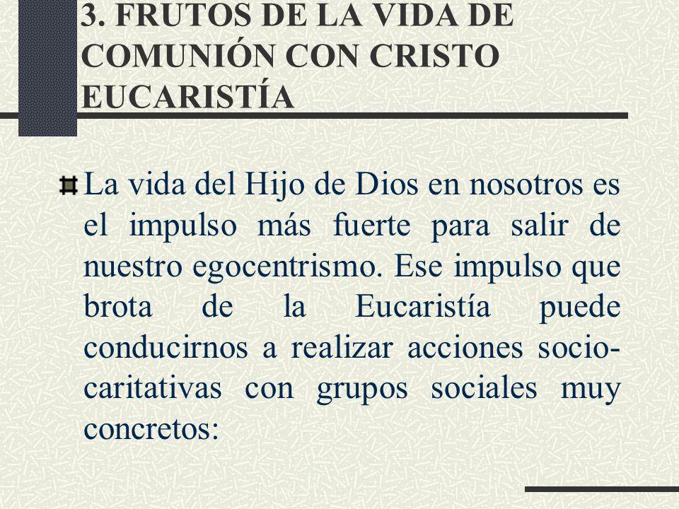 3. FRUTOS DE LA VIDA DE COMUNIÓN CON CRISTO EUCARISTÍA