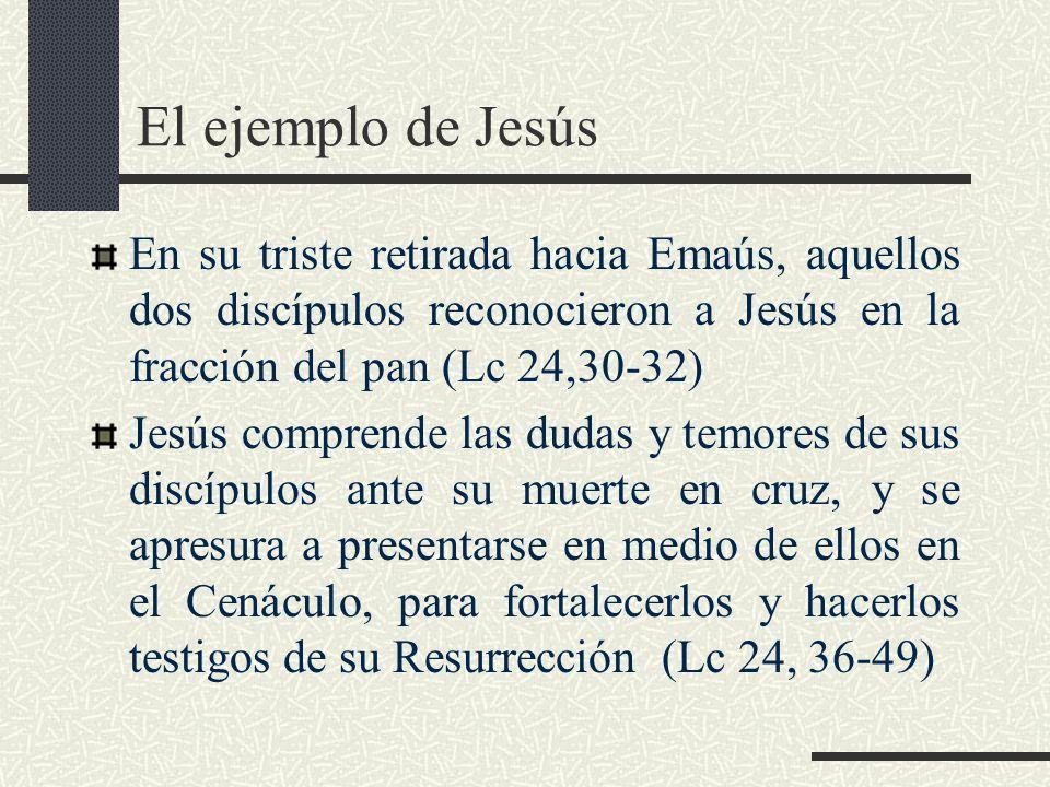 El ejemplo de Jesús En su triste retirada hacia Emaús, aquellos dos discípulos reconocieron a Jesús en la fracción del pan (Lc 24,30-32)