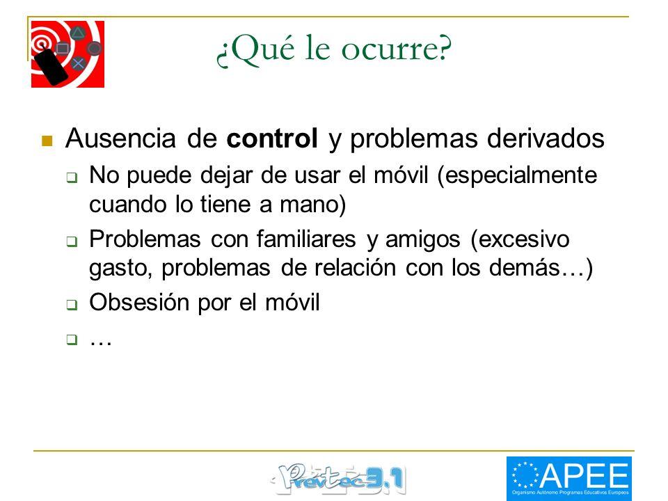 ¿Qué le ocurre Ausencia de control y problemas derivados