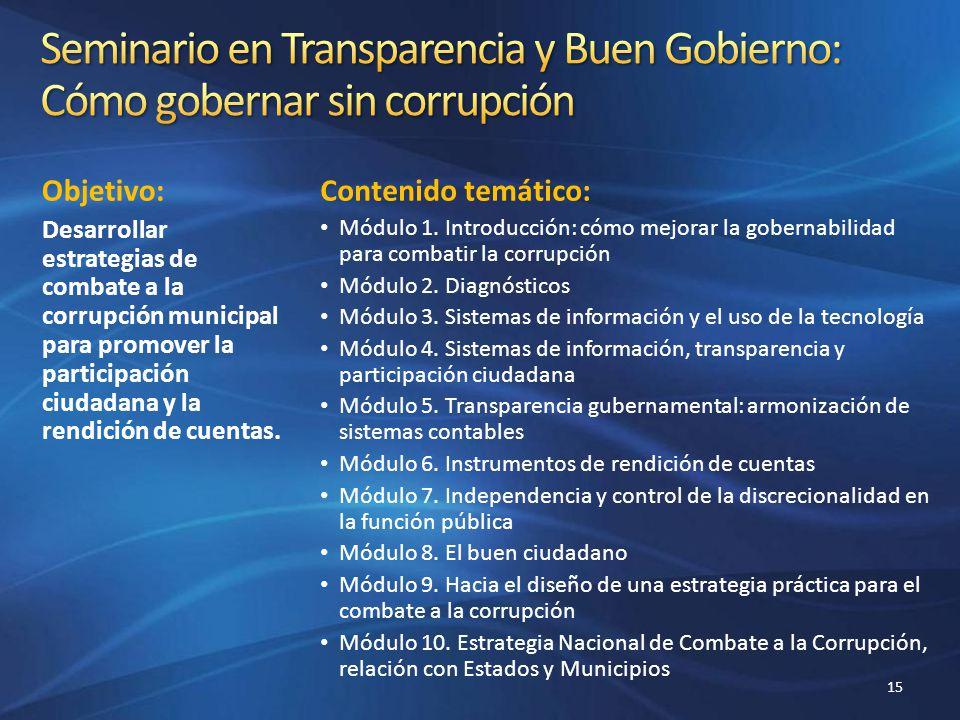 Seminario en Transparencia y Buen Gobierno: Cómo gobernar sin corrupción
