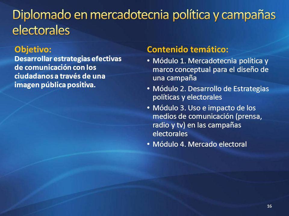 Diplomado en mercadotecnia política y campañas electorales