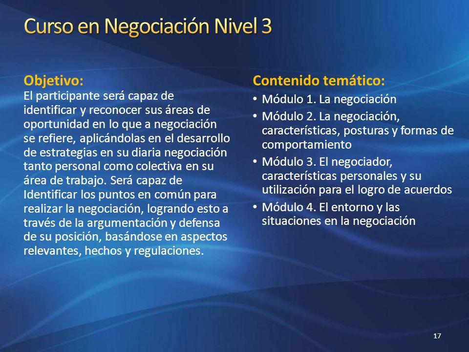 Curso en Negociación Nivel 3