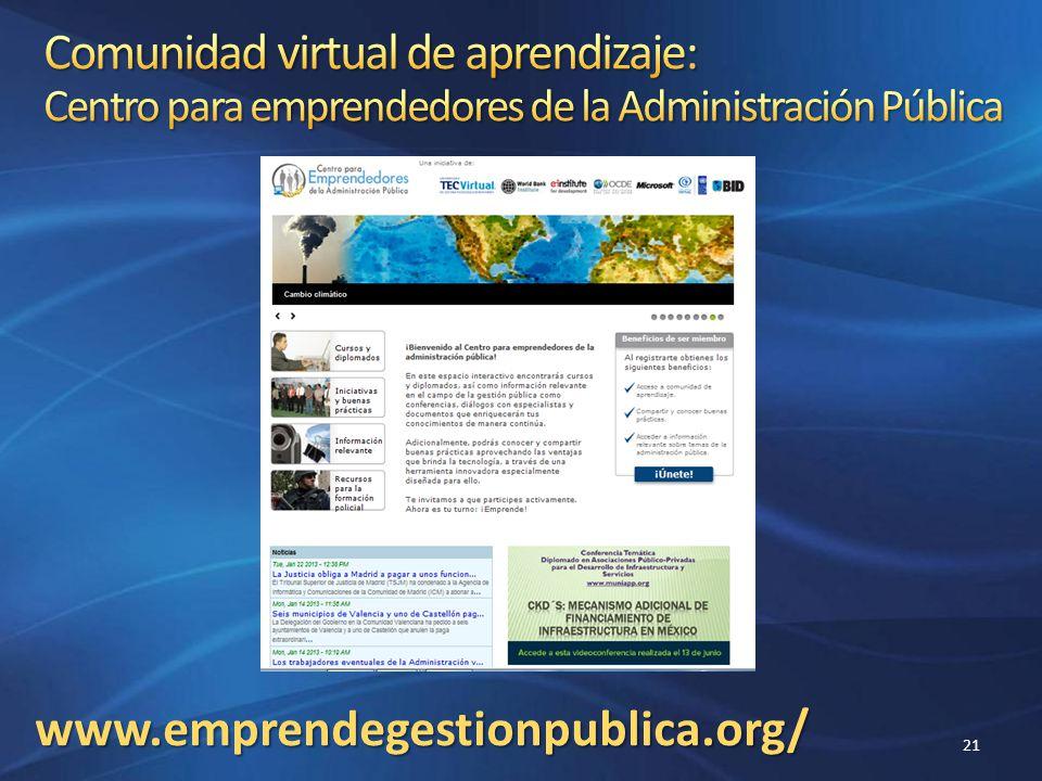 Comunidad virtual de aprendizaje: Centro para emprendedores de la Administración Pública
