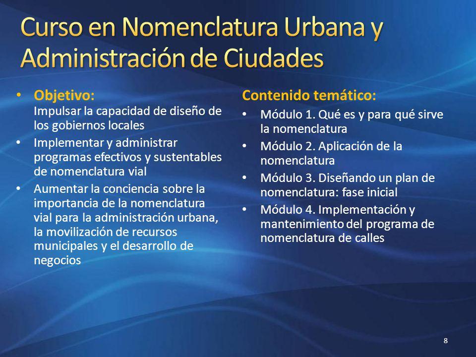 Curso en Nomenclatura Urbana y Administración de Ciudades