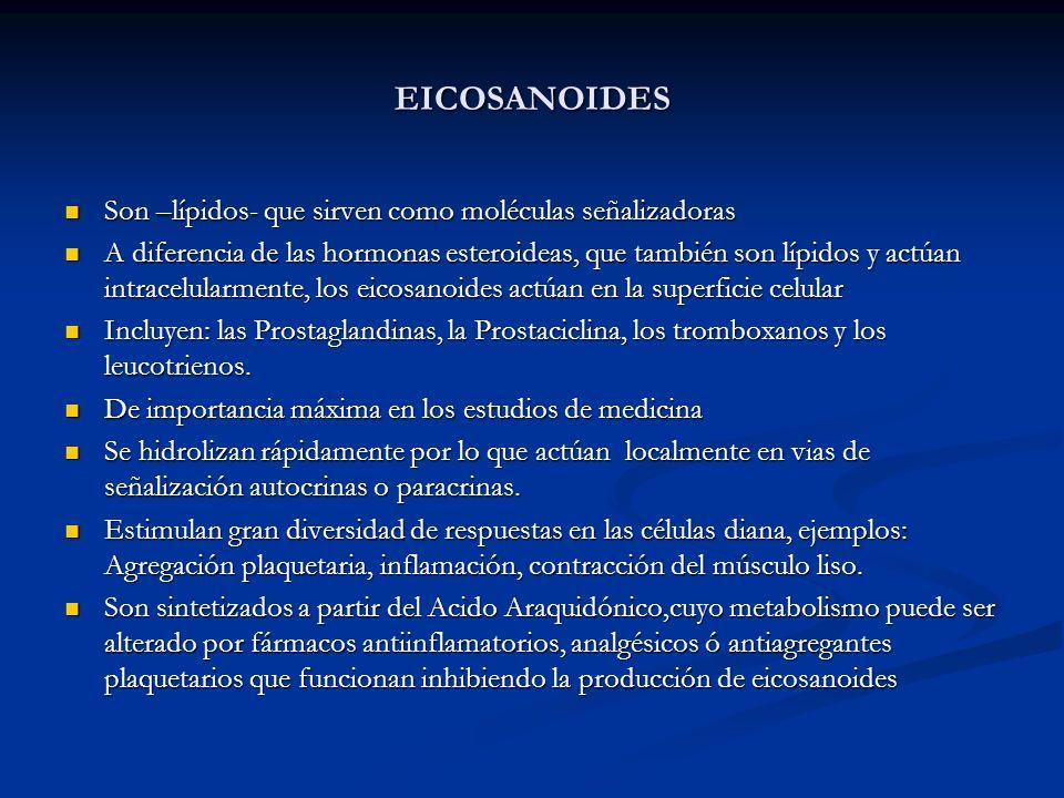 EICOSANOIDES Son –lípidos- que sirven como moléculas señalizadoras