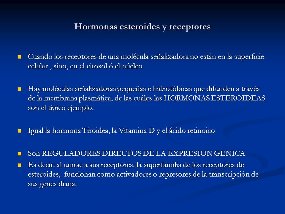 Hormonas esteroides y receptores