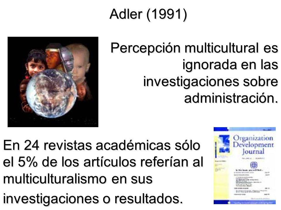 Adler (1991) Percepción multicultural es ignorada en las investigaciones sobre administración.