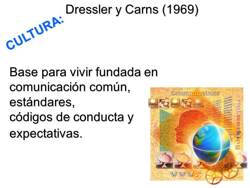 Dressler y Carns (1969) CULTURA: Base para vivir fundada en comunicación común, estándares, códigos de conducta y expectativas.