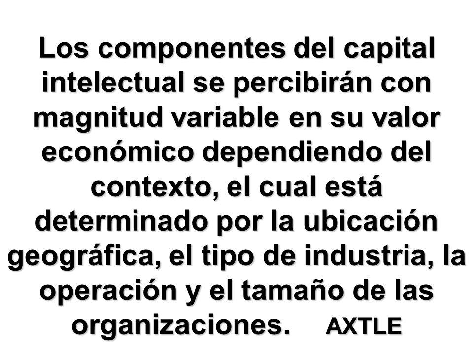 Los componentes del capital intelectual se percibirán con magnitud variable en su valor económico dependiendo del contexto, el cual está determinado por la ubicación geográfica, el tipo de industria, la operación y el tamaño de las organizaciones.