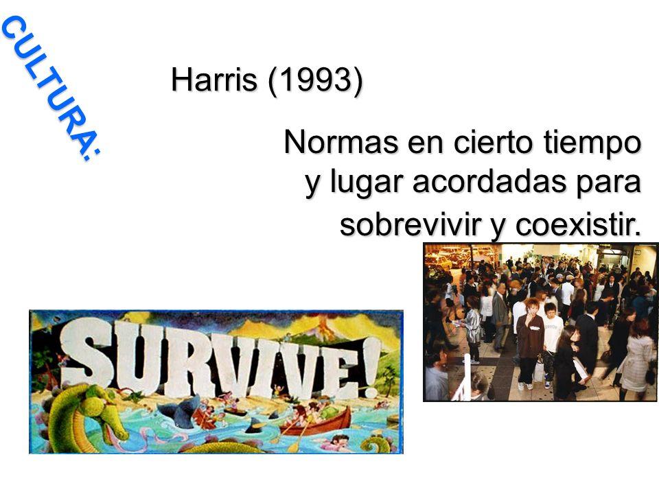 Harris (1993) CULTURA: Normas en cierto tiempo y lugar acordadas para sobrevivir y coexistir.