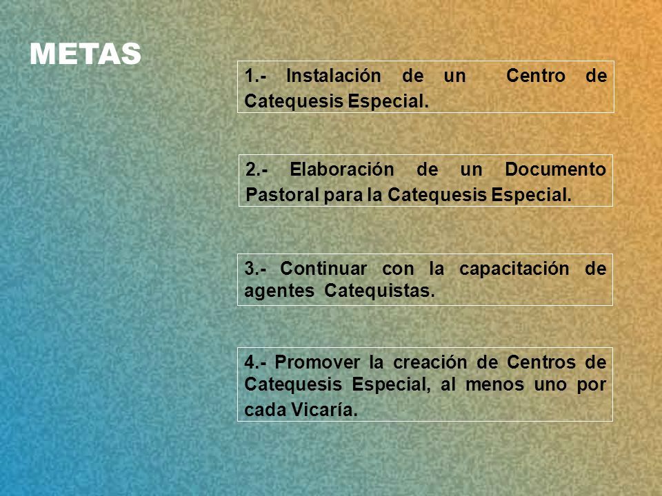 METAS 1.- Instalación de un Centro de Catequesis Especial.