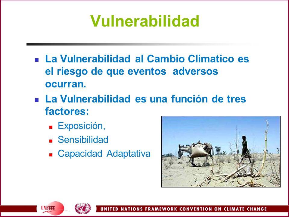 Vulnerabilidad La Vulnerabilidad al Cambio Climatico es el riesgo de que eventos adversos ocurran.