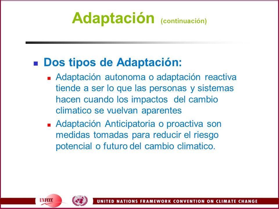 Adaptación (continuación)