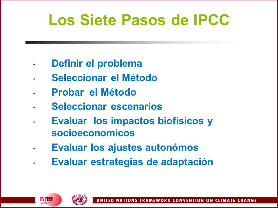 Los Siete Pasos de IPCC Definir el problema Seleccionar el Método