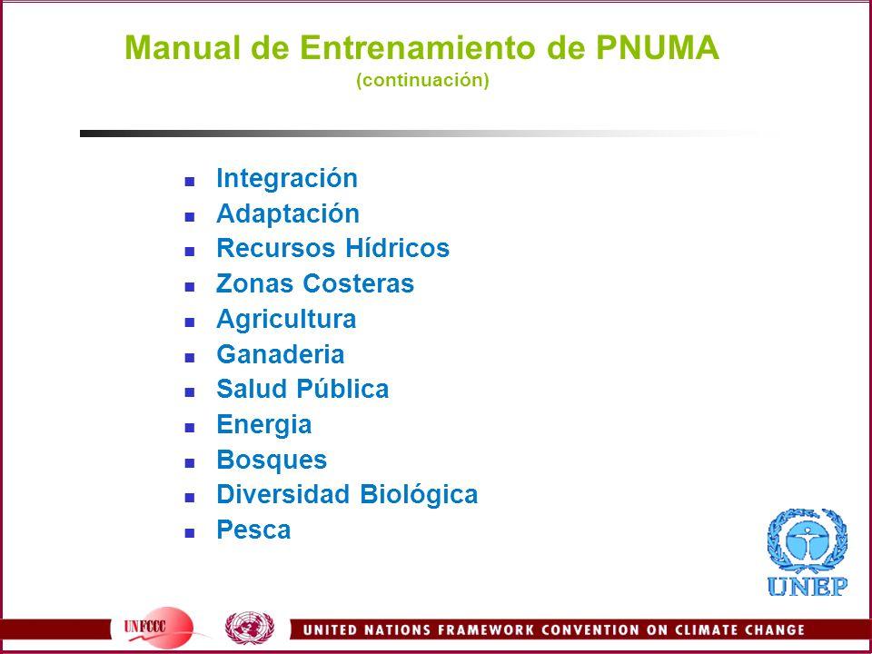 Manual de Entrenamiento de PNUMA (continuación)