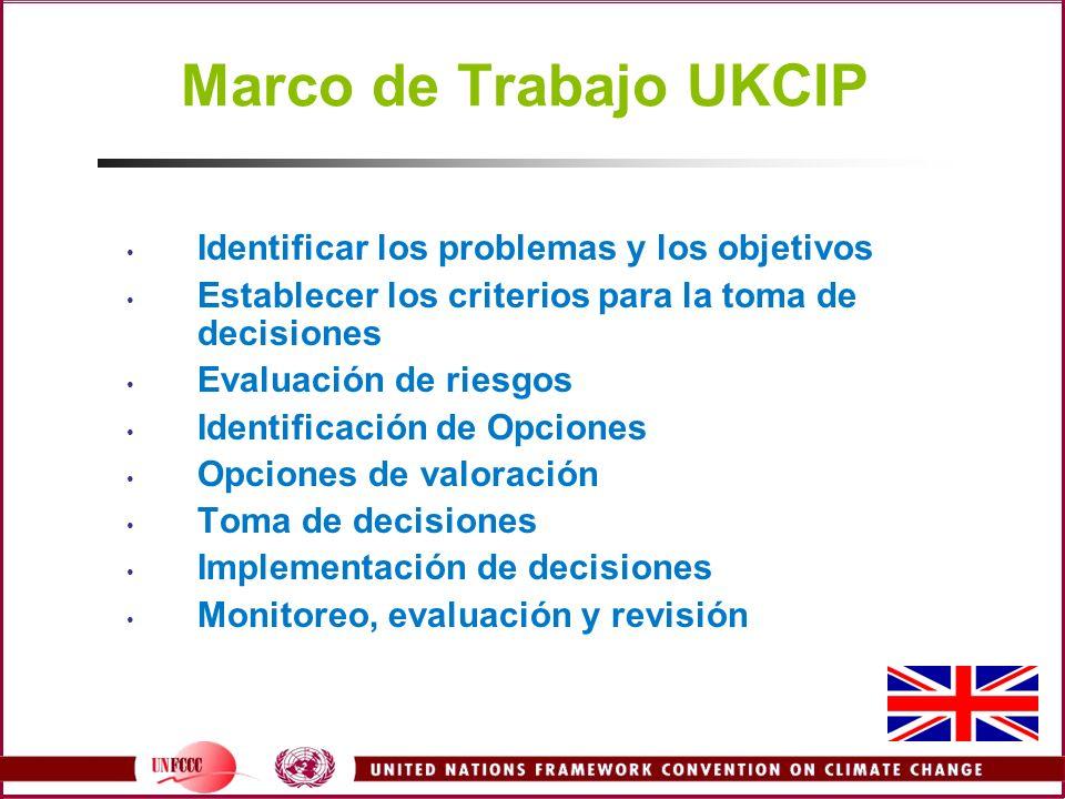 Marco de Trabajo UKCIP Identificar los problemas y los objetivos