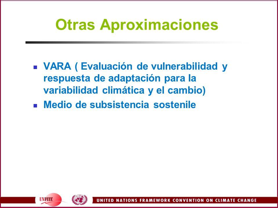 Otras AproximacionesVARA ( Evaluación de vulnerabilidad y respuesta de adaptación para la variabilidad climática y el cambio)